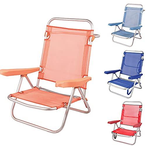 Silla Playa Plegable Ligera Evy Aluminio 80x62x50 cm. 4 Posiciones y 4 Colores (Naranja)