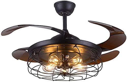 HMMHHE Ventilador de techo con control remoto de iluminación 42 pulgadas LED Luz Luz Moderna Lámpara 4 Hojas retráctiles Ventilador de techo 3 Tiempo 3 Velocidades Dormitorio Sala de estar Sala de est