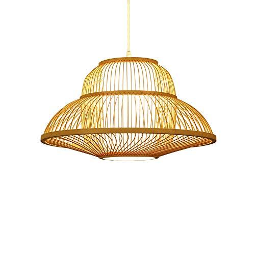 ZGZRXGY Moderno y Simple Restaurante japonés decoración araña Tejida a Mano al Sureste Estilo asiático bambú Colgante iluminación hogar E27 Cabeza soleadía lámpara de ratán