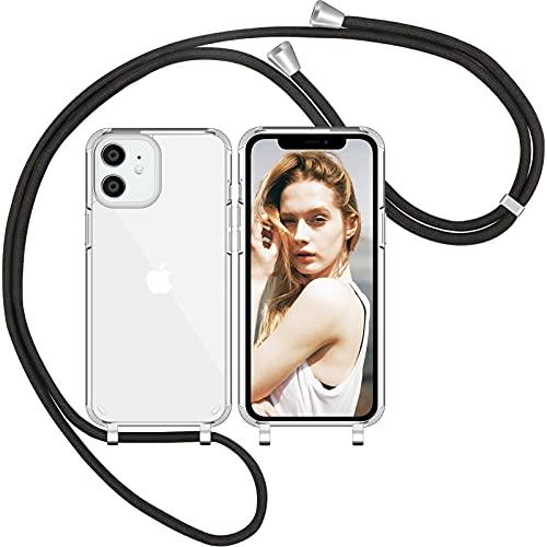 Nupcknn Handykette Hülle für iPhone 12/iPhone 12 Pro Hülle Silikon Necklace(abnehmbar) Transparent Hülle mit Kordel zum Umhängen TPU Handy Schutzhülle mit Band (Schwarz