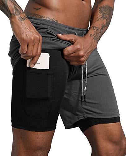 Lachi Herren Hose Sport Shorts Laufshorts 2 in 1 Kurze Running Sporthose Badehose Jogginghose Laufhose Fitness Trainingshose,Graue Handytasche,M