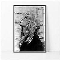 Dubdubd ブリジットバルドー映画スター女優ポスターキャンバス絵画壁アート写真リビングルームの家の装飾ギフト-50X75Cmフレームなし1個