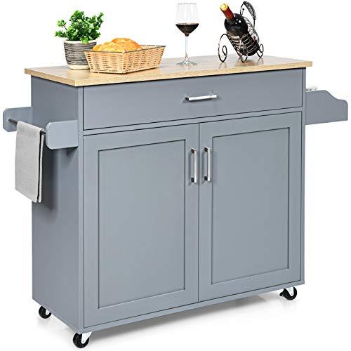 PETSITE Kitchen Island Cart, Rolling Storage Kitchen Cart with Large Cabinet, Drawer, Spice Rack and Towel Rack, Adjustable Shelves, Grey