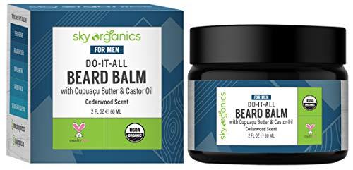 Sky Organics Do-It-All Beard Balm for Men, Multipurpose Beard Moisturizer & Conditioner, Dry Skin Softener, Beard & Mustache Groomer, More Manageable Facial Hair with Castor Oil, Cruelty-Free, 1 Count