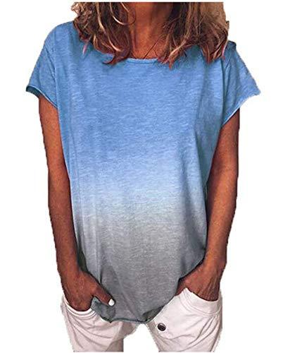 Yutila Mujer Manga Corta Camiseta Tops Verano Casual Degradado T-Shirt Camisa