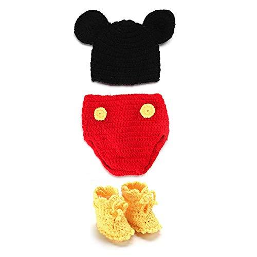 SYMTOP Traje de Bebé Recién Nacido Foto Sombreros Crochet Knit - Micky