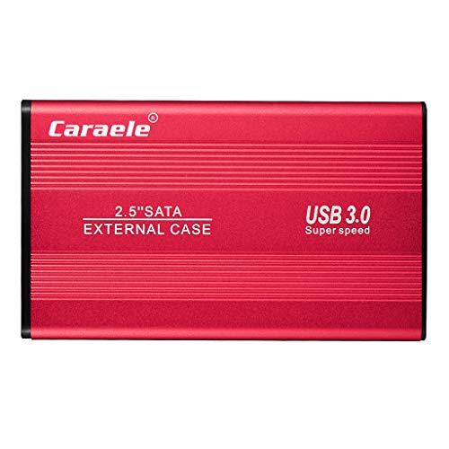 MERIGLARE Disco Duro Externo USB 3.0 SATA Copia de Seguridad de Almacenamiento de Datos en Disco Duro Móvil Portátil - Rojo 2TB