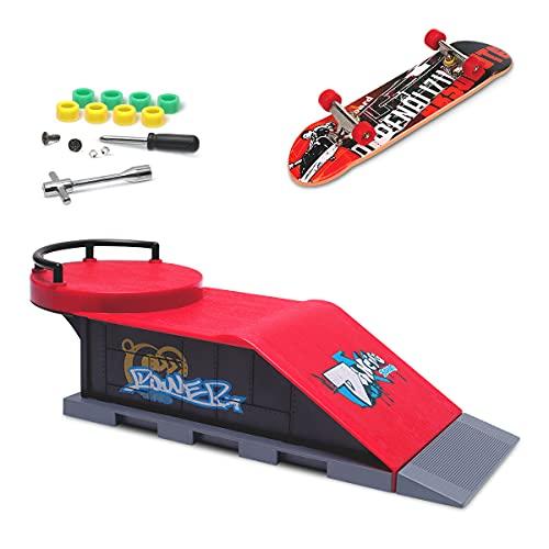 MOMSIV Mini Skateboard per Dita con rampa e Set di Accessori, D