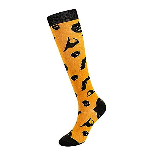 JDGY Calcetines de compresión para Halloween, por encima de la rodilla, transpirables, elásticos, largos, de punto, calcetines deportivos, de algodón
