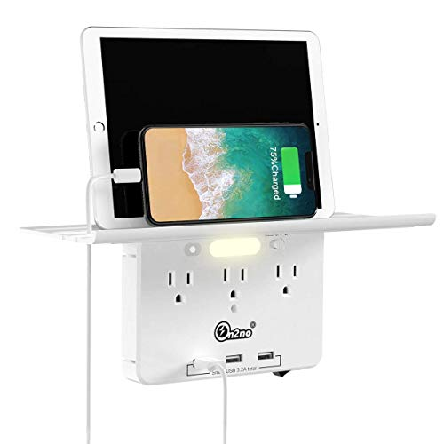 Socket Outlet Shelf -ON2NO Wall Outlet Extender with All Around Built-in Shelf, Multi Plug Outlet Surge Protector with Smart Night Light, 3 USB Charging Ports, 3AC Power Outlet Splitter