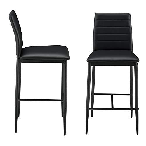 [en.casa] Barstuhl 2er Set Barhocker mit Rückenlehne und Polster aus Kunstleder in Schwarz auf Metallgestell