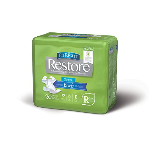 """Medline - ERROR:#N/A FitRight Restore Adult Briefs with Tabs, Maximum Absorbency, Regular, 40""""-50"""", For Adult Incontinence, Comfort and Skin Health, 4 packs of 20 (80 total)"""