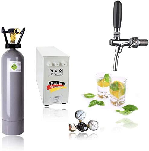 SPRUDELUX® Untertisch-Trinkwassersystem - Trinkwassersprudler Sprudel-Lok - NEUHEIT! Inkl. Zapfhahn mit Kompensator + Druckminderer - mit und ohne 2 Kg CO2 Flasche (Mit 2kg CO2 Flasche)