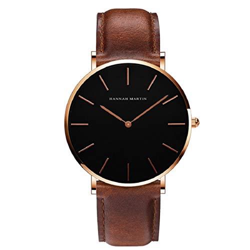 Hombre Relojes, L'ananas Hombres Estilo Minimalista Anolog Negocio Cuarzo Cuero de PU Amable Relojes de Pulsera Wrist Watches con Caja de Regalo (Marrón+Oro Rosa)