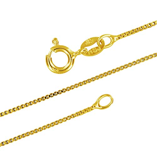 14kt Yellow Gold Plated Sterling Silver 1mm Box Chain Necklace Solid Italian Nickel-Free, 22 Inch