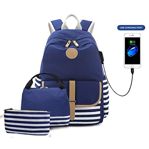 Goodking Canvas Backpack School Backpack for, Blue, Size 17.7*13.8*6.7 Inches