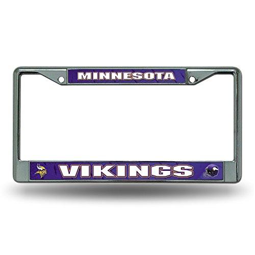 Rico Industries NFL Minnesota Vikings Standard Chrome License Plate Frame , 6 x 12.25-inches