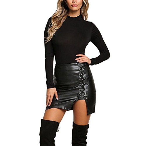 Etopfashion Vrouwen P.U. Hoge taille Split Lace Up Side Faux Lederen Body Con Mini Rok