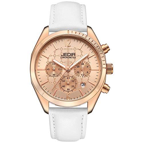 BUREI Orologi cronografo da uomo con cinturino in vera pelle con data analogica e cinturino in acciaio inossidabile (UK-JDR6010-1-AXG)