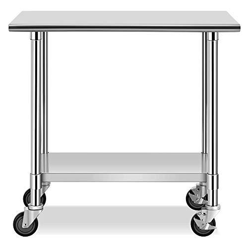 obile Edelstahl Arbeitstisch, Gastro Tisch Werkbank mit höhenverstellbarer Ablagefläche, Edelstahltisch Küchentisch mit Rollen Bremse, max.250kg
