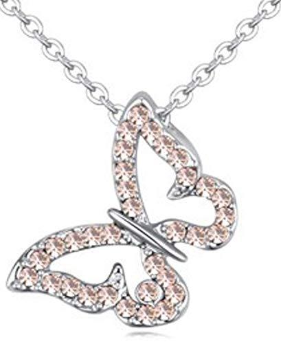 Quadiva G! - Collar para mujer con colgante de mariposa y corazón (oro blanco), decorado con...