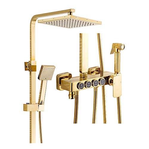 LNXGJJ Shower Duschsystem, Gold, Duschset, Wandmontage, freistehend, Duschsäule mit ABS-Duschkopf, Handbrause, Badewannenarmatur, Bidet Sprühflasche