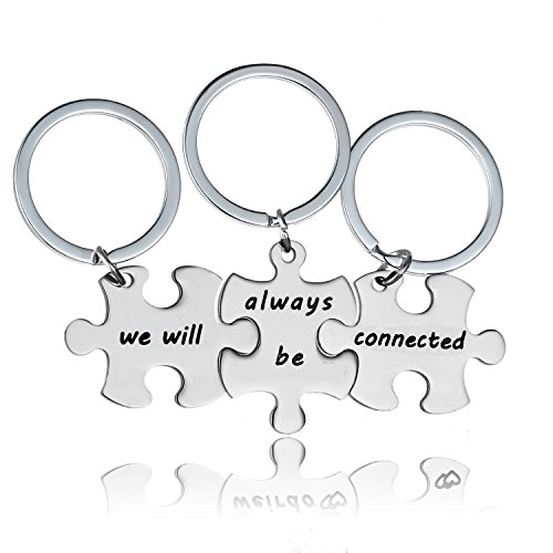 YeeQin 3PCS We Will Always Be Connected Keychain Set, Best Friends Keychains for 3, Friendship Keychain Jewelry Gift for Sisters Friends