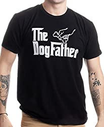 "Black t-shirt with the words ""The Dogfather"" on the front."