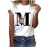 VEMOW Camiseta de Mujer Manga Corta Suelta con Cuello Redondo Talla Grande, Moda Impresión de 26 Letras Inglesas Basica Suelto Verano Camisa Tops Casual Fiesta T-Shirt para el Mejor Amigo(M,M)