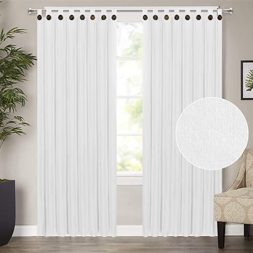 White Curtains 84 Inch Farmhouse Cotton Blend Curtains 2 Panels Tab Top Curtains with Boho Rustic Button Privacy Added Light Filtering Window Drapes for Bedroom Living Room (52 x 84 Inch, White)