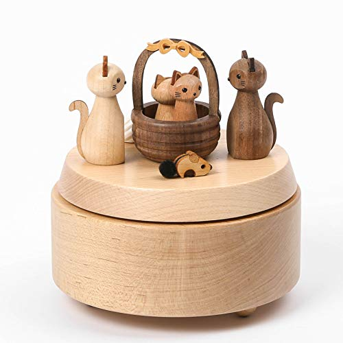 WOODERFUL LIFE Music Box | Greeting Kitty | 1033733 | Collectible Nature Wood Color Lightweight and Durable Cat Lover Gift from Sustainable Forest | Plays - Home,Sweet Home
