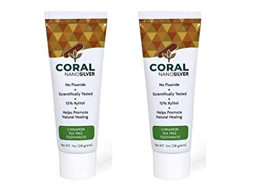 Coral White Nano Silver Cinnamon Tea Tree Travel Size Xylitol Toothpaste Fluoride and SLS Free Naturally Whitens Teeth 1 Ounce (2 Pack)