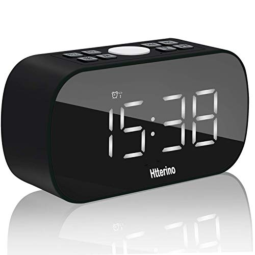 Clock Radios Wireless Bluetooth Speakers Portable Alarm Clock with FM Radio Night Light 5 LED Digital Display Sleep Timer with Snooze Function Compatible with iPhone, Samsung and More(Black)