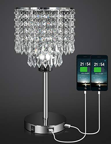 Silver Crystal Bedside Table Lamp with Dual USB Charging Port, Acaxin Nightstand Lamp with Elegant Shade, Decorative Desk Lamp for Bedrooms/Living Room/Dining Room/Kitchen (Without Bulb)