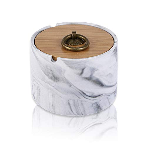 Ashtray, Ceramic Ashtray with Lids, Windproof, Cigarette Ashtray for Indoor or Outdoor Use,Marble ashtray, Ash Holder for Smokers, Desktop Smoking Ash Tray for Home Office Decoration - Gray