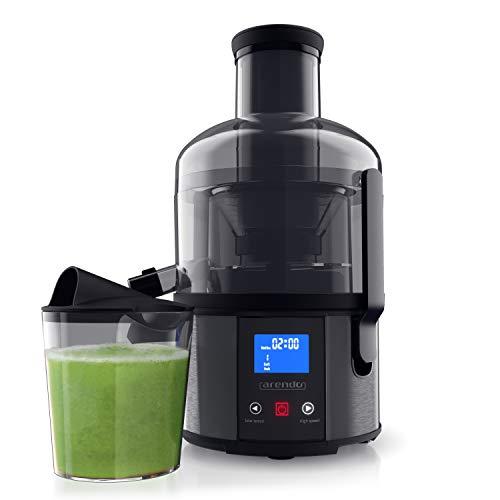 Arendo - Entsafter mit Display - DC Motor 800 W – elektrischer Zentrifugalentsafter für Gemüse und Obst - Saftkur - Saft Diät - GS zertifiziert