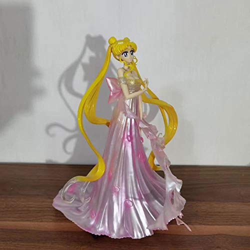 QIYHB 25cm Sailor Moon Anime Figur Moon Hare Brautkleid Pink Premium Version Skulptur Dekoration Dekoration Statue Figur Modell Spielzeugpuppe