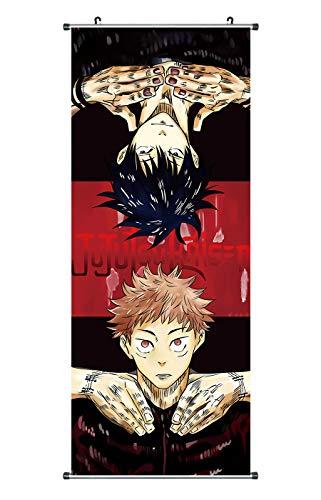 CoolChange Großes Jujutsu Kaisen Rollbild | Kakemono aus Stoff | Poster 100x40cm | Motiv: Yuji & Megumi