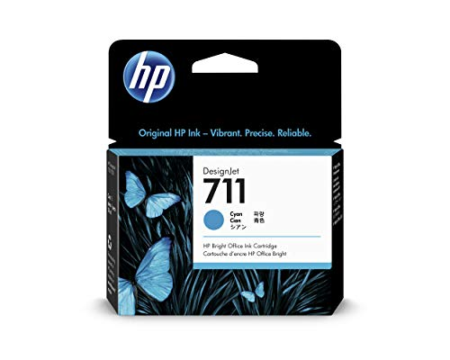 HP 711 Cyan 29-ml Genuine Ink Cartridge (CZ130A) for DesignJet T530, T525, T520, T130, T125, T120 & T100 Large Format Plotter Printers