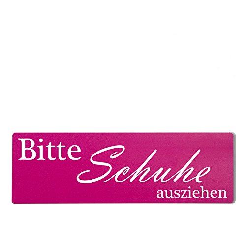 Deko Shabby Chic Schild Bitte Schuhe ausziehen in pink Vintage Holz Türschild zum kleben