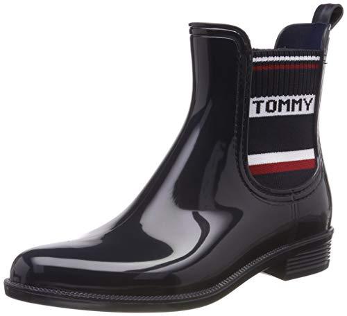 Tommy Hilfiger Damen Tommy Elastic RAIN Boot Gummistiefel, Blau (Midnight 403), 41 EU
