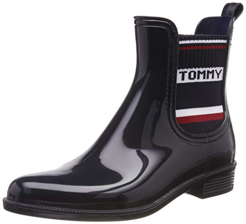 Tommy Hilfiger Damen Tommy Elastic RAIN Boot Gummistiefel, Blau (Midnight 403), 40 EU