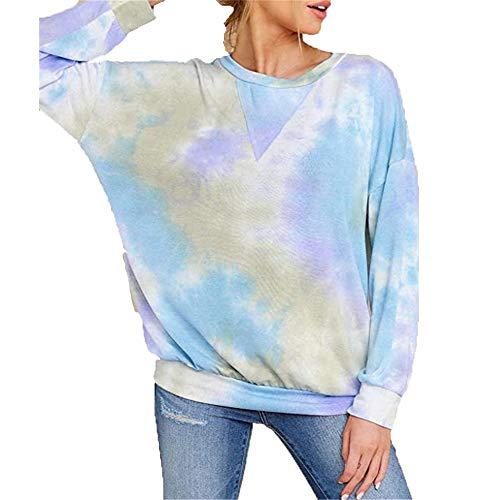 ZFQQ Women's Shirt tie-dye Long-Sleeved Round Neck T-Shirt Sweater Sky Blue