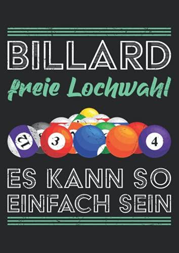 Notizbuch A4 kariert mit Softcover Design: Lustiger Billard Spruch Freie Lochwahl Pool Kugeln Snooker: 120 karierte DIN A4 Seiten