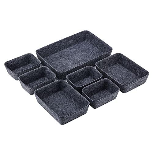 Accevo Schubladen Ordnungssystem, 7 Stück Filz Schubladen Organizer, [Lieferung mit Kabelbinder und Kopfhörerbox] Schminktisch organizer, 3 Größen, Stapelbar, Robust, für büro, Schlafzimmer, etc