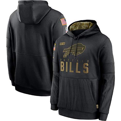 Pullover Hoodie American Football Buffalo Bills Pullover Pullover Trikot Langarm Sportswear Schwarze Fronttaschen Herbst Winter Outfit.-Black-XXL