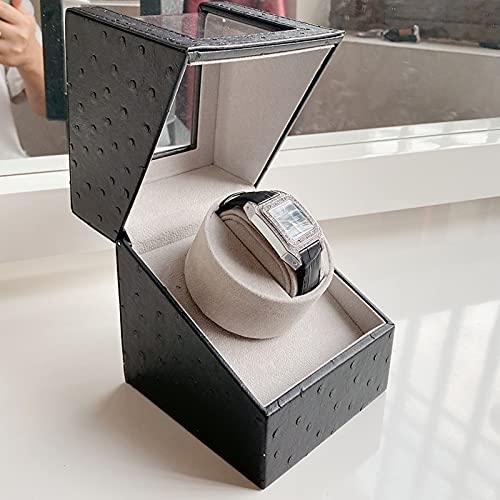 HOMEJYMADE Automático Reloj Winder para Relojes Automáticos,Tranquilo Japón Agitador De Motores Ver Winder Titular,Caja De Bobinado De Reloj Mecánico para Regalo Viaje-Patrón Negro y Gris 1 Ranura