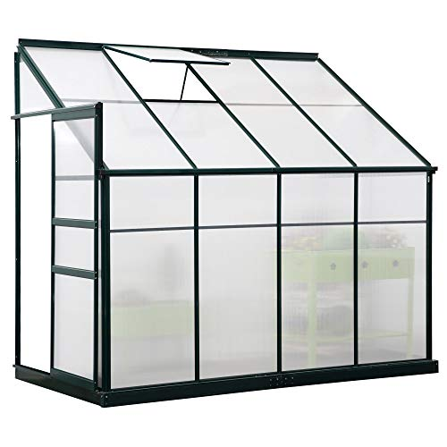 Outsunny Walk-in Garden Aluminum Polycarbonate Greenhouse with Roof Vent for Plants Herbs Vegetables 8' x 4' x 7'