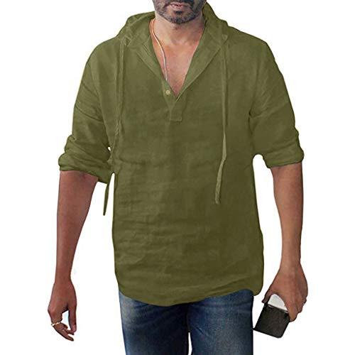 YAYUMI Mens Long Sleeve Pullover Hoodie Linen Henley Shirts Casual Lightweight Long Sleeve T Shirts Top Hooded Shirts