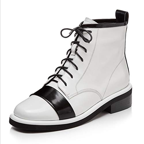 LIUJUN-WEI Cuero de Patente Retro Color Blanco Y Negro Color Botas Cortas Mujeres, Cordones Mid-toel Martin Boots, Otoño E Invierno Botas Delgadas Botas de Moda (Size : 37)